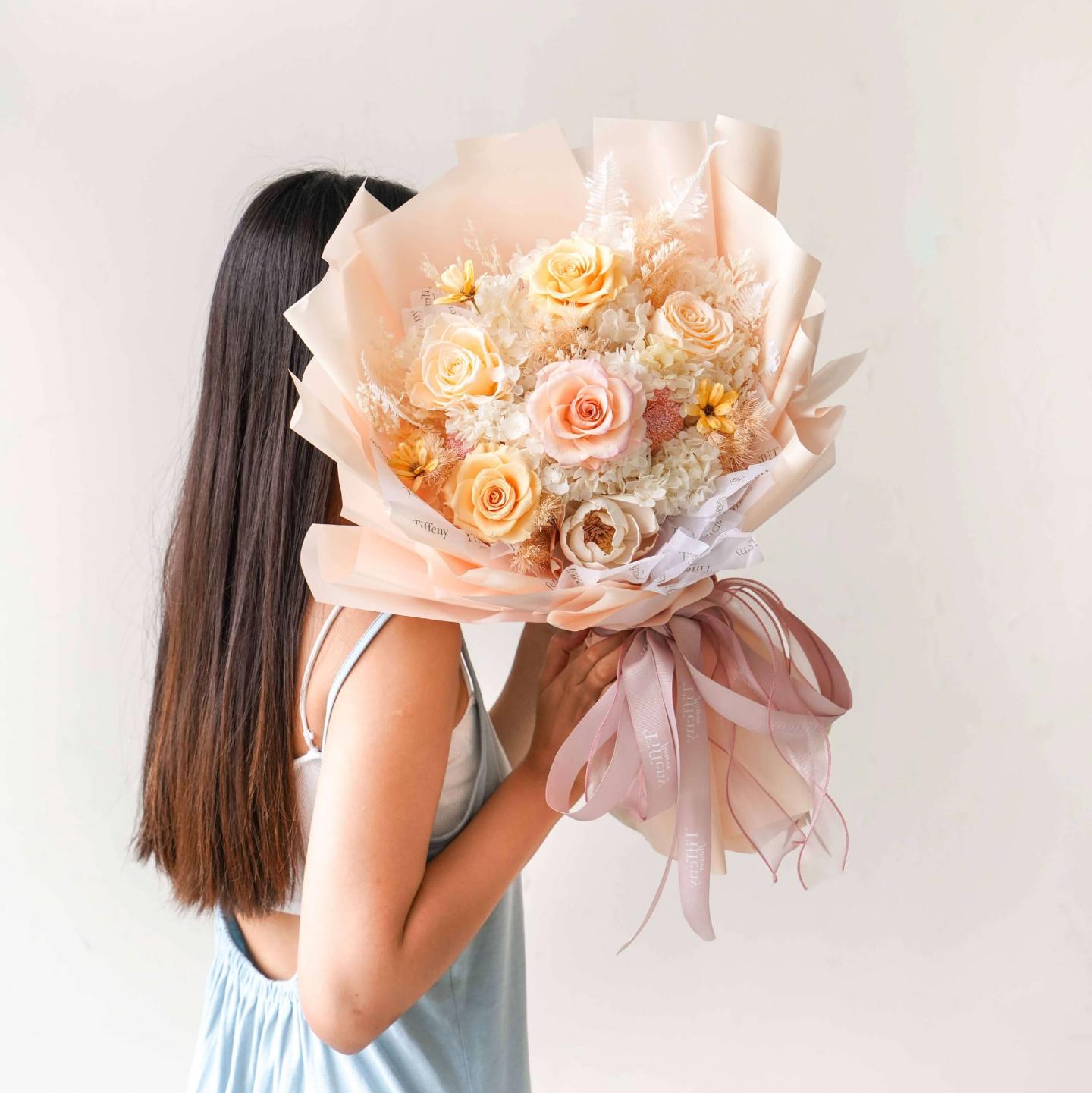 台中花店-永生花束-乾燥花束-情人節花束