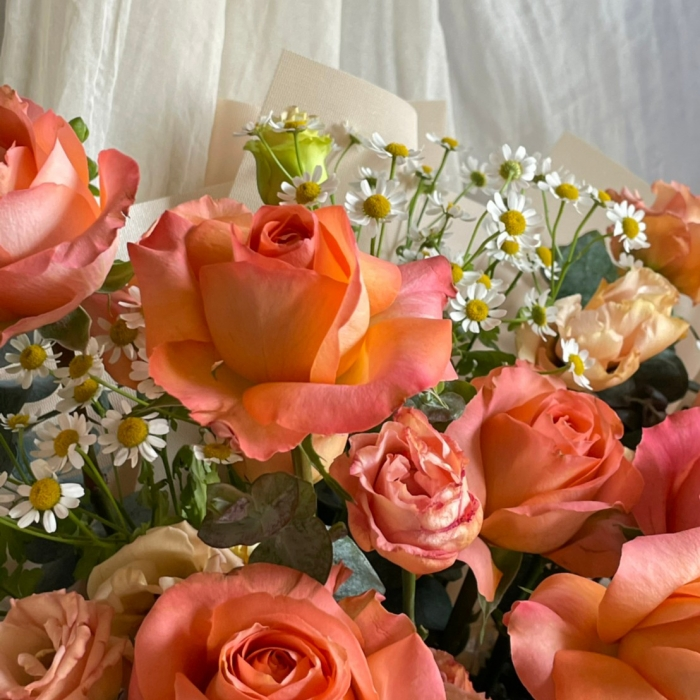 焦糖南瓜橘玫瑰鮮花束 2