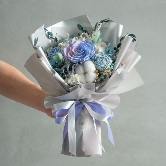 優雅・韓式乾燥永生花「藍紫」 1