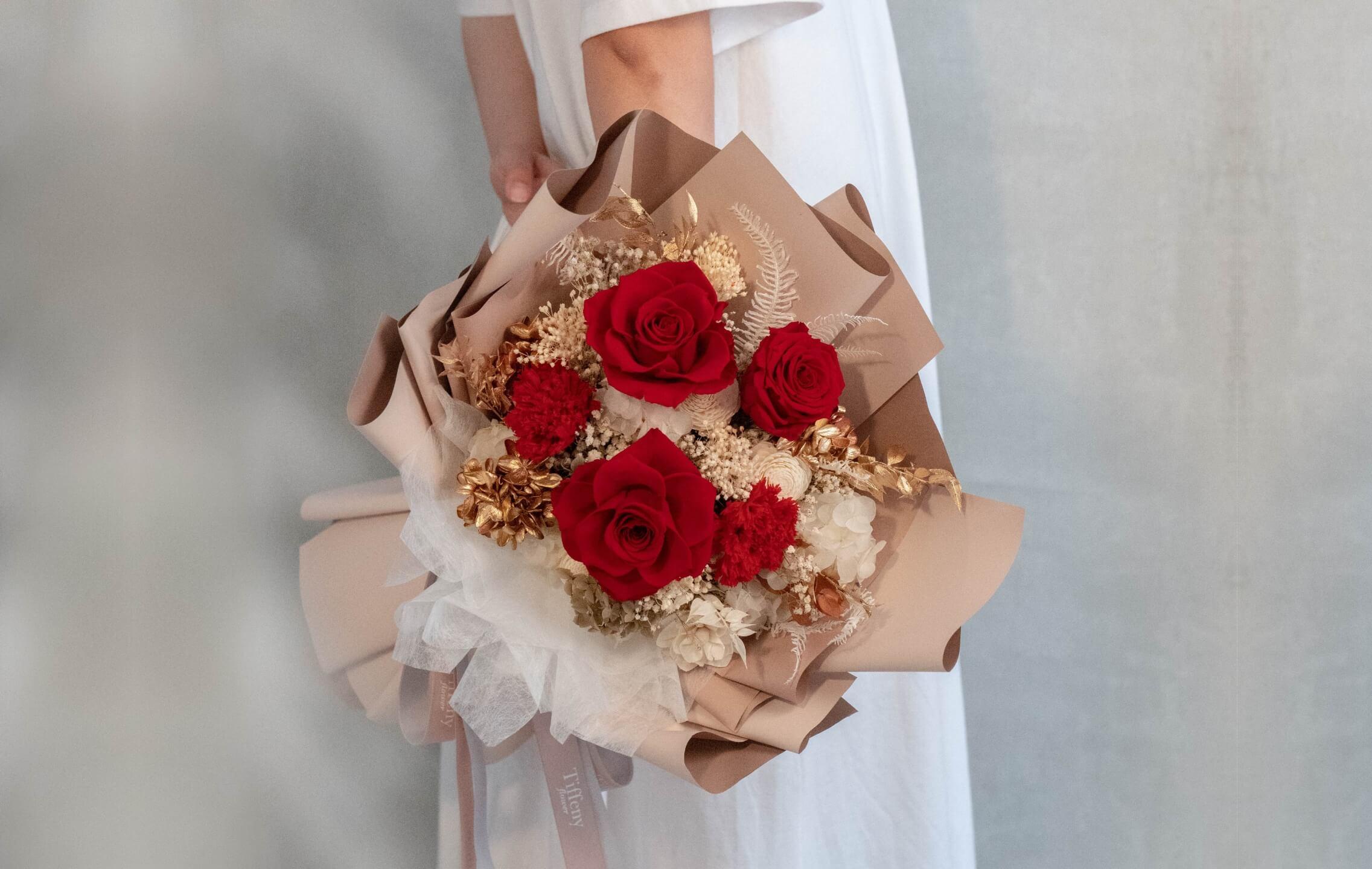 台中花店-乾燥花永生花-母親節花束